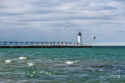Photograph - Navigational Aids On Lake Michigan In Manistee by Sue Smith