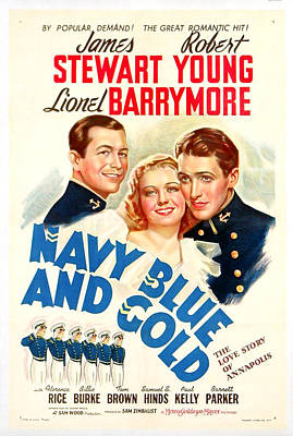 Navy Blue And Gold 1937 Art Print by Mountain Dreams