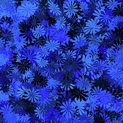 Digital Art - Navy Blue Floral Pattern by Aimee L Maher ALM GALLERY
