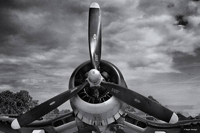 Navy Corsair Propeller Print by Roger Wedegis