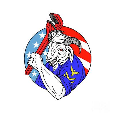 Goat Digital Art - Navy Goat Holding Pipe Wrench Usa Flag Circle Retro by Aloysius Patrimonio