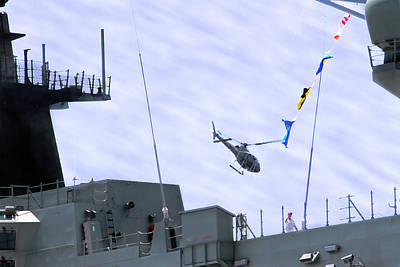 Photograph - Navy Helicopter Flying Over Hmas Adelaide by Miroslava Jurcik
