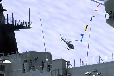 Photograph - Navy Helicopter Flying Over Hmas Adelaide by Miroslava Jurcik