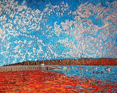 Painting - Navy Island And Market Wharf St. Andrews, Nb View From Water Street by Michael Graham