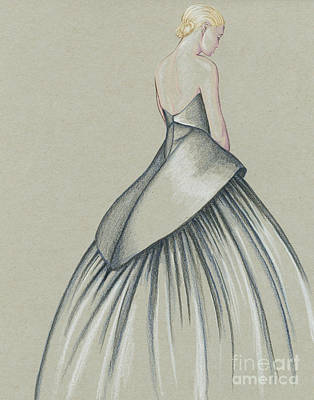 Red Gown Drawing - Navy Lady by Samantha Burns