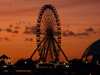 Navy Pier At Sunset Art Print by Jean Gugliuzza