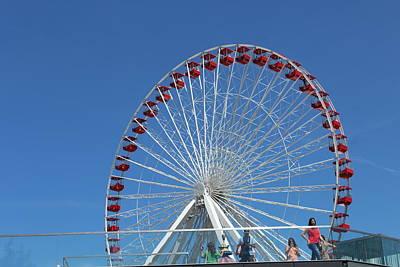 Navy Pier Ferris Wheel Art Print by Carolyn Ricks
