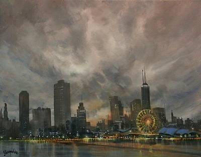 Chicago At Night Painting - Navy Pier Ferris Wheel Chicago by Tom Shropshire