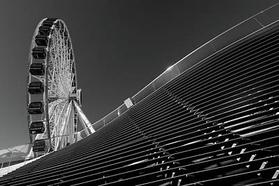 Staircase Photograph - Navy Pier Wheel Chicago B W by Steve Gadomski