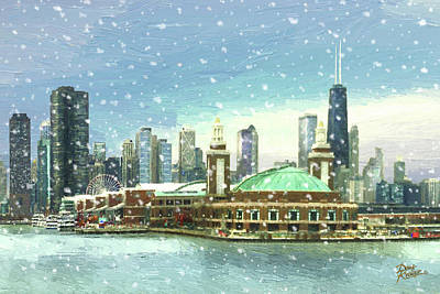 Painting - Navy Pier Winter Snow by Doug Kreuger