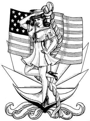 Freedom Fighter Drawing - Navy Pin Up Girl by Scarlett Royal
