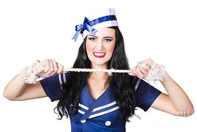Navy Pin Up Poster Girl Breaking Rope Art Print