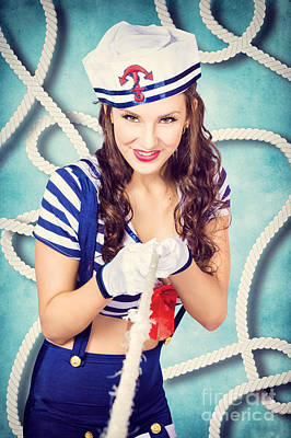 Navy Sailor Pinup Girl In Tug Of War Battle Print by Jorgo Photography - Wall Art Gallery