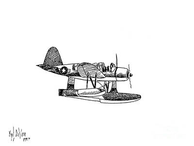 Navy Scout Observation Plane Pen And Ink No  Pi201 Art Print by Kip DeVore