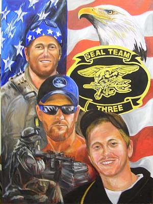 Painting - Navy Seal Down by Ken Pridgeon