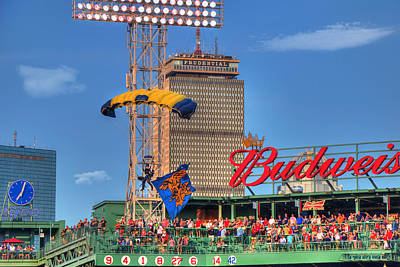 Leap Frog Photograph - Navy Seals Parachuting Over Fenway Park - Boston by Joann Vitali