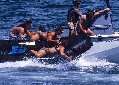 Physical Training Photograph - Navy Seals Practice High Speed Boat by Michael Wood