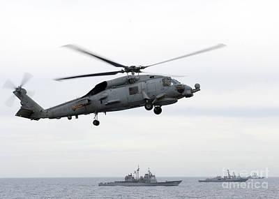 Navy Ships Maneuver Into Formation Art Print
