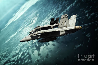 F-18 Digital Art - Navy Super Bugs by J Biggadike