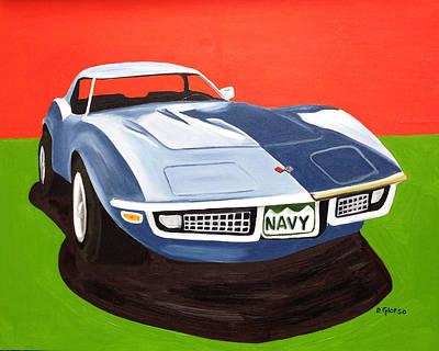 Navy Vette Art Print