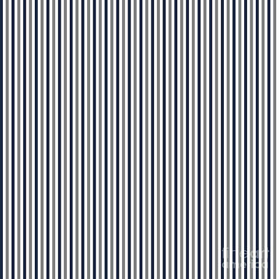Digital Art - Navy White And Grey Vertical Stripes by Leah McPhail
