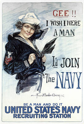 World War One Digital Art - Navy World War 1 Recruiting Poster  1917 by Daniel Hagerman