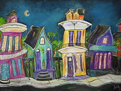 New Orleans Shotgun Houses Painting - Nawlins' Block Party by Angel Turner Dyke