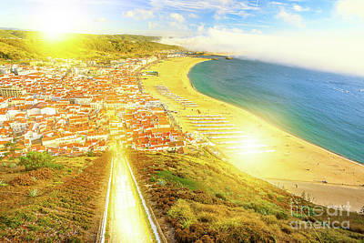 Photograph - Nazare Skyline Sunset by Benny Marty