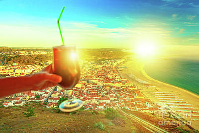 Photograph - Nazare Skyline With Glass Of Sangria by Benny Marty