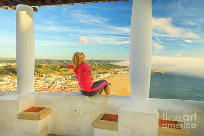Photograph - Nazare Viewpoint Woman by Benny Marty