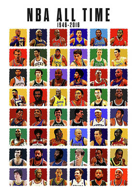 John Stockton Digital Art - Nba All Times by Semih Yurdabak
