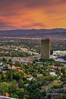 Photograph - Nbc Universal Sunset by David Zanzinger