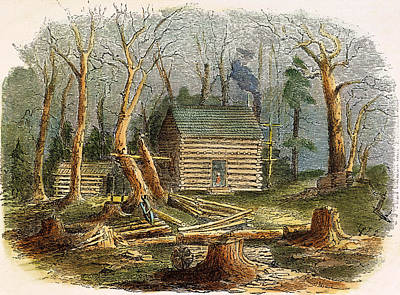 Log Cabins Photograph - N.c.: Log Cabin, 1857 by Granger