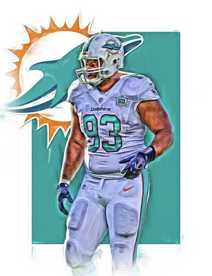 Miami Mixed Media - Ndamukong Suh Miami Dolphins Oil Art 2 by Joe Hamilton