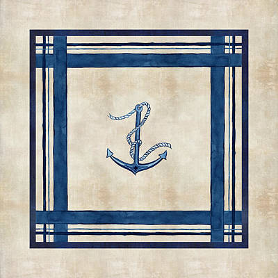 Painting - Indigo Ocean - Nautical Anchor Watercolor Stripes by Audrey Jeanne Roberts