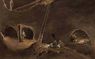 Miners Painting - Neales's Stopes, Burra Burra Mine, April 12th 1847 by Samuel Thomas Gill