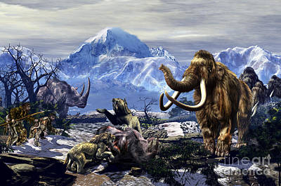 Neanderthals Approach A Group Art Print by Kurt Miller