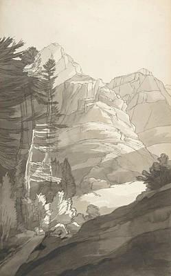 Drawing - Near Glaris, Switzerland by Francis Towne