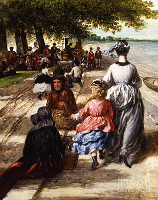 Mums Painting - Near The Beach, Gloucester, 1877 by William E Winner