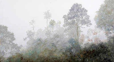 Mist Wall Art - Painting - Nebbia Nella Foresta by Guido Borelli