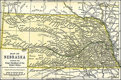 Photograph - Nebraska Antique Map 1891 by Phil Cardamone