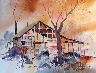 Barn Painting - Nebraska Barn by Micheal Jones