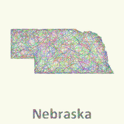 Nebraska Map Digital Art - Nebraska Line Art Map by David Zydd
