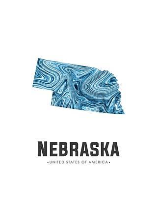 Mixed Media - Nebraska Map Art Abstract In Blue by Studio Grafiikka