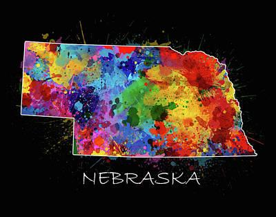 Nebraska Map Digital Art - Nebraska Map Color Splatter 2 by Bekim Art