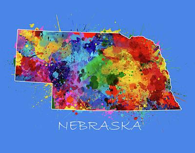 Nebraska Map Digital Art - Nebraska Map Color Splatter 3 by Bekim Art