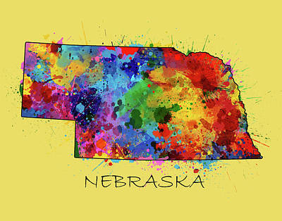 Nebraska Map Digital Art - Nebraska Map Color Splatter 4 by Bekim Art