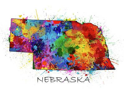 Nebraska Map Digital Art - Nebraska Map Color Splatter  by Bekim Art