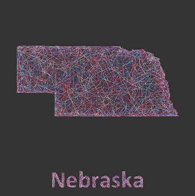 Nebraska Map Digital Art - Nebraska Map by David Zydd