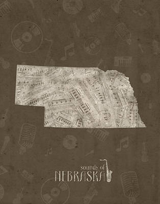 Jazz Royalty-Free and Rights-Managed Images - Nebraska Map Music Notes 3 by Bekim Art